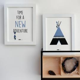 Posterset tipi adventure kinderkamer - jeansblauw