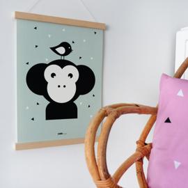 Poster apenkop babykamer - mint