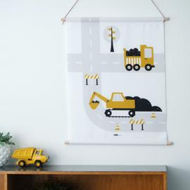 Textielposter graafmachine voertuigen kinderkamer - oker geel