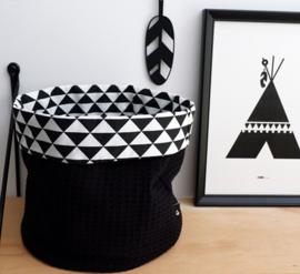Commodemandje wafelstof zwart- driehoek
