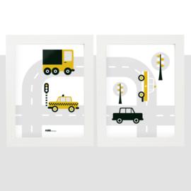 Posterset voertuigen auto  kinderkamer - oker geel
