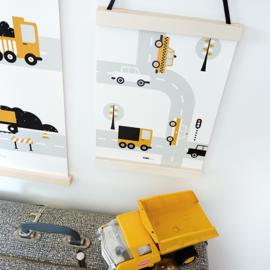 Poster auto voertuigen kinderkamer - oker geel