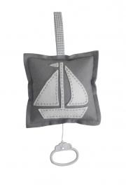Muziekdoosje zeilboot grijs-wit