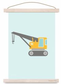 Poster kinderkamer voertuig kraanwagen