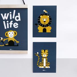 Posterset kinderkamer - leeuw + tijger (donkerblauw-oker)