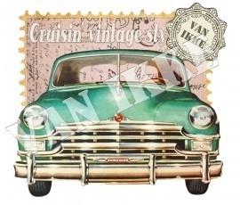 strijkapplicatie postkaart vintage auto