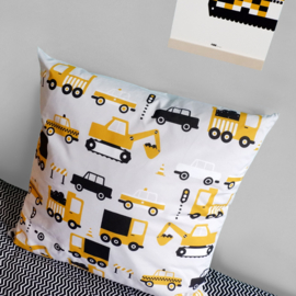Kussen XL kinderkamer - auto voertuigen oker - inclusief binnenkussen
