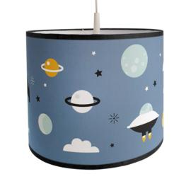 Lamp ruimtevaart kinderkamer  | raket - planeten (jeansblauw)