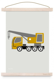 Poster kinderkamer voertuig oplegger - oker geel