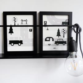 Posterset kinderkamer Caravan voertuigen - zwart wit