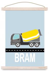 Poster cementwagen auto met naam