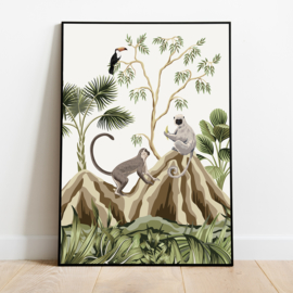 Poster jungle kinderkamer babykamer - apen