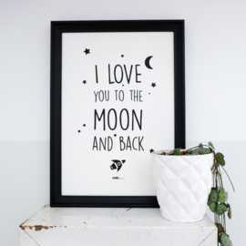 Poster babykamer I love you to the moon and back - zwart wit