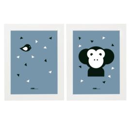 Posterset apenkop kinderkamer - jeans blauw