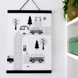 Poster kinderkamer caravan voertuigen - olijfgroen