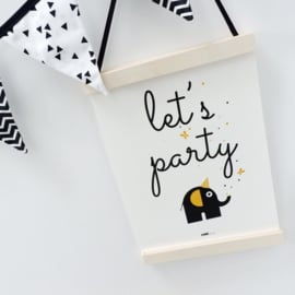 Poster olifant - Let's party (oker geel)