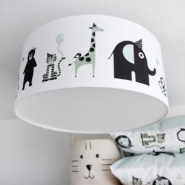 Babykamer plafondlamp dieren mint (old green) - zwart