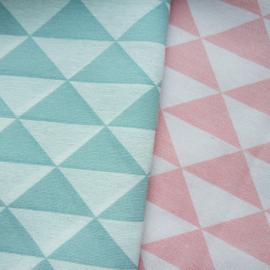 Aankleedkussenhoes wafelstof wit - oker driehoek