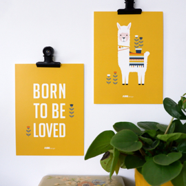 Posterset kinderkamer lama + born to be loved - oker