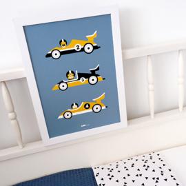 Poster Raceauto kinderkamer -  jeans blauw & oker geel
