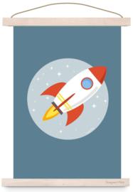 Poster kinderkamer ruimtevaart raket