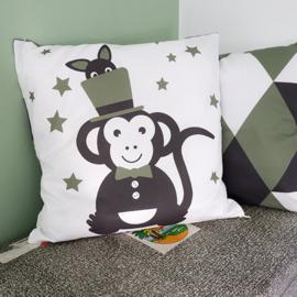 Kussen Circus aap - olijf groen