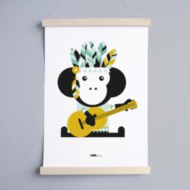 Poster aap indiaan kinderkamer - oker geel