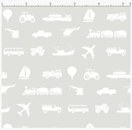 Behangstaal voertuigen behang kinderkamer - grijs