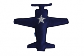 Vliegtuig knuffel (blauw - grijs)