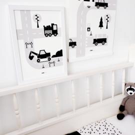 Poster voertuigen graafmachine kinderkamer - zwart wit