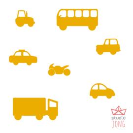 Autobaan sticker uitbreidingsset voertuigen geel