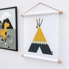 Textielposter Tipi - oker geel