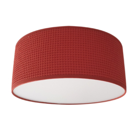 Plafondlamp wafelstof terracotta rood (roest kleur)