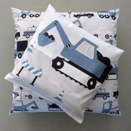 Kussen graafmachine voertuig jeans blauw - inclusief binnenkussen