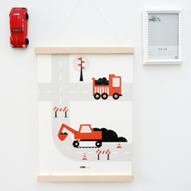 Poster voertuigen graafmachine kinderkamer - terracotta rood - roest