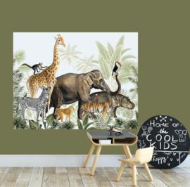 Behangpaneel jungle dieren parade - kinderkamer