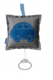 Muziekdoosje auto grijs - donker aquablauw