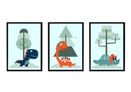 Dinosaurus poster set voor dino kamer