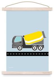 Poster jongenskamer cementwagen auto