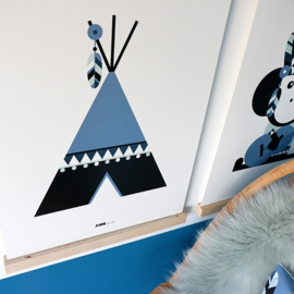 Poster tipi jeans blauw