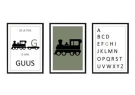 Naam posterset trein + alfabet (diverse kleuren)