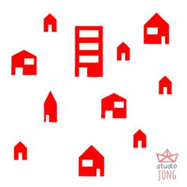 Autobaan sticker uitbreidingsset huisjes rood