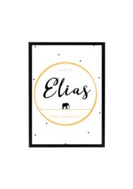 Geboorteposter Elias en olifant