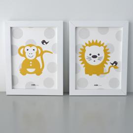 Posterset aap en leeuw oker - lichtgrijs