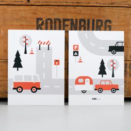 Posterset kinderkamer Caravan voertuigen - terracotta rood