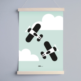 Poster vliegtuigen kinderkamer - mint