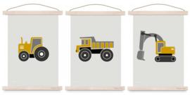 Poster set jongenskamer - kiepwagen + graafmachine + tractor oker