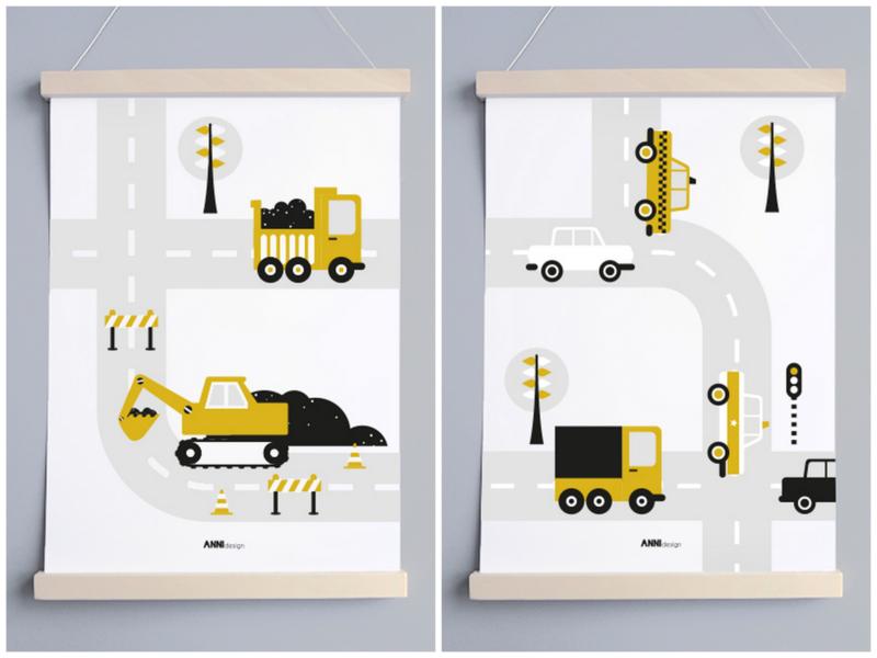 Poster set voertuigen kinderkamer - oker geel