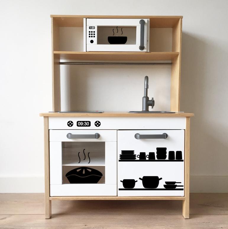 Ikea keukentje sticker set (oven + magnetron + keukengerei + draaiknopjes)