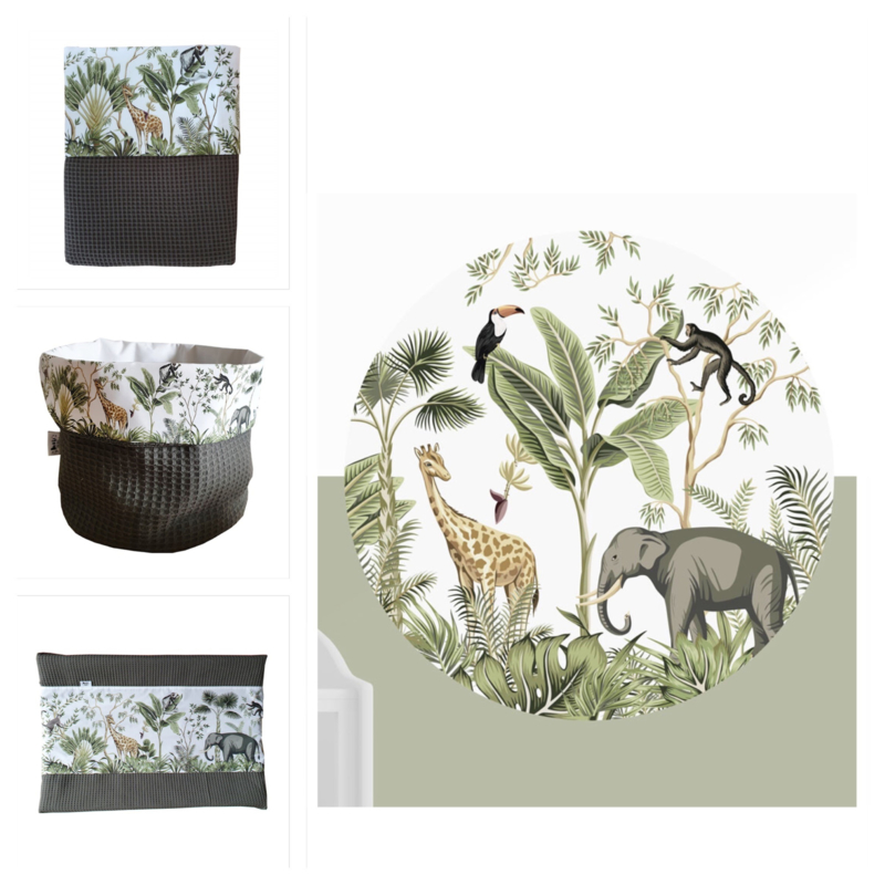 Babykamer aankleding en decoratie set - Jungle (met muurcirkel)